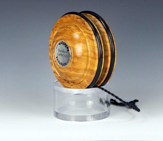 Handmade Toy YoYo, Fixed Axle Satellite...Roman Olive Wood