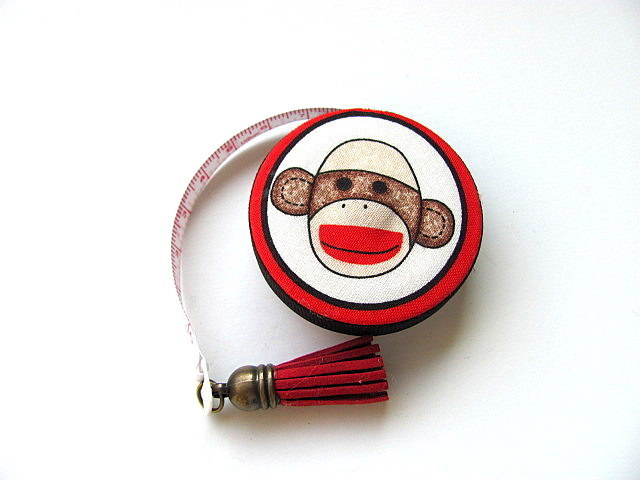 Measuring Tape with Sock Monkeys Retractable Tape Measure
