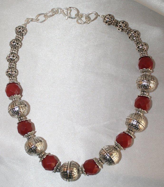 Dark Red Ruby Quartz Statement Necklace, Tribal Style Jewelry, Tibetan Silver