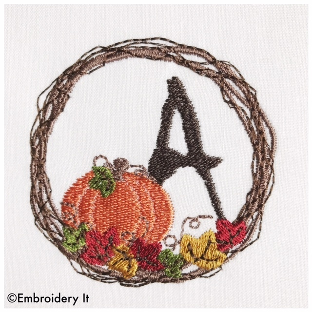 Pumpkin Mason Jar Full Alphabet Set Machine Embroidery Design Instant Download