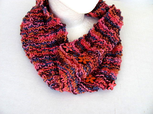 Autumn Flower Buttons Cowl FREE US Shipping