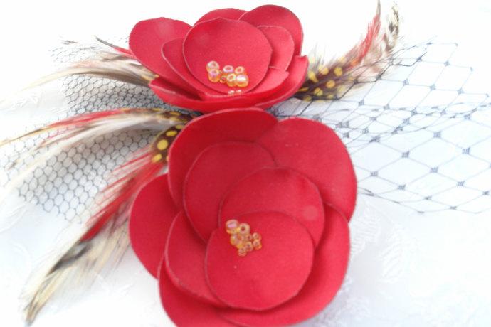 Hair Clip-Vintage Inspired Headpiece- Feather- Flower Fascinator-CUSTOM