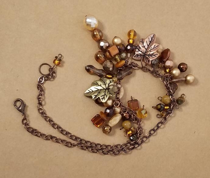 Handmade Fall Leaves Dangle Necklace