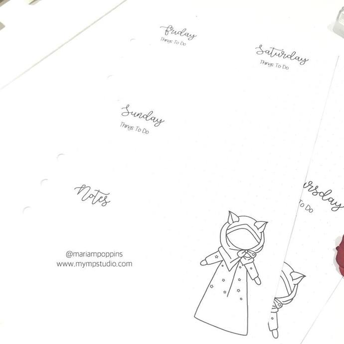 Muslimah With Cat Ears Planner Insert