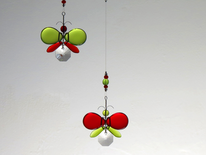 Xmas Decor Crystal Suncatcher Glass Mobile Red Butterfly Mobile Hanging Mobile