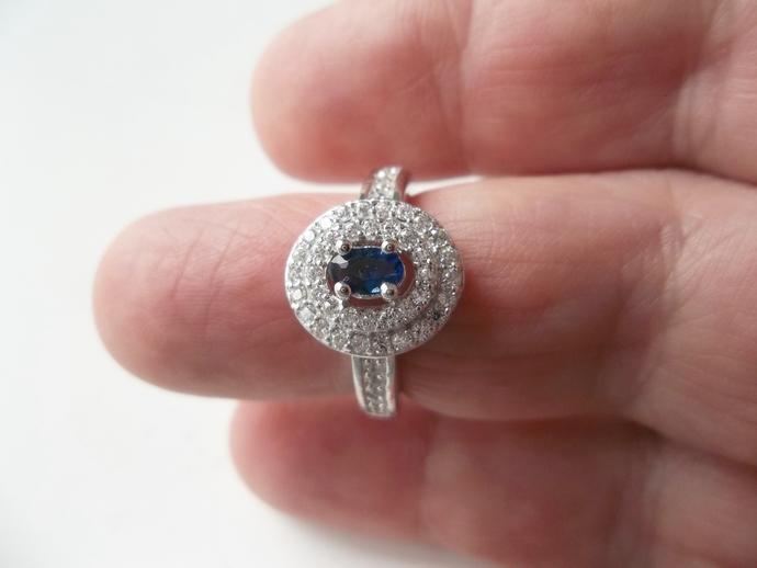 Sapphire and white topaz ring, keepsake gift, September Birthstone, size 6.5,