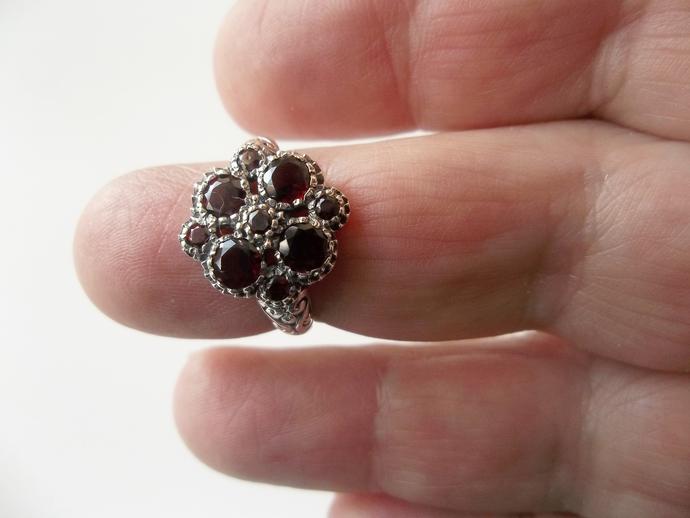 Garnet Ring, January Birthstone, Holiday Gift Idea, Punk Rock, Unusual Ring,