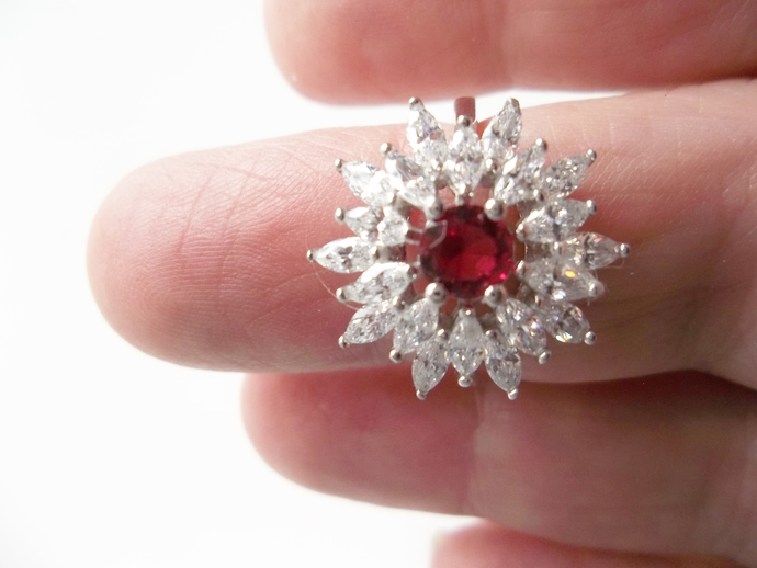High Fashion Ring, Engagement Ring, size 7, promise ring,July Birthstone, Ruby