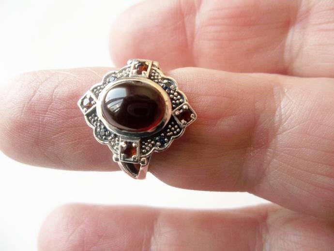 Garnet Ring, size 6 ring, January Birthstone, Holiday Gift Idea, Punk Rock,