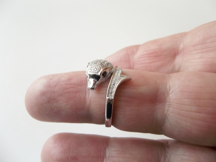 Dolphin ring, size 7 ring,  Steampunk Ring, white Topaz and Black Sapphire Ring,