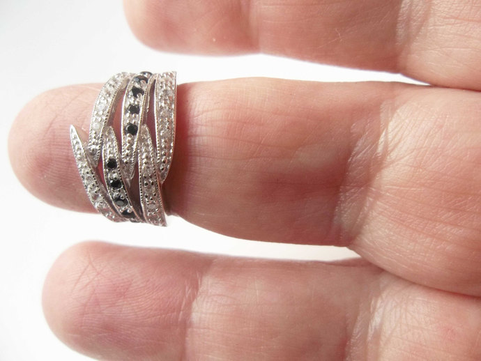 2ct Black Sapphire And White Topaz Ring, size 6 ring,  High End Ring,  Holiday