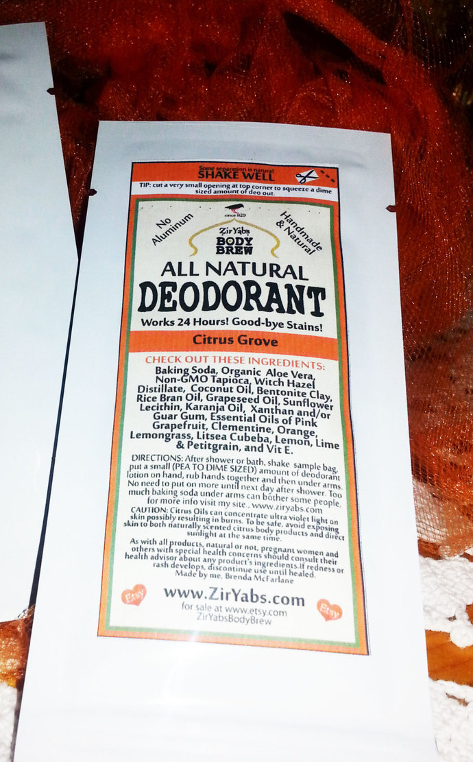 SAMPLE POUCH   Amazing 24 Hour Natural Deodorant   CITRUS