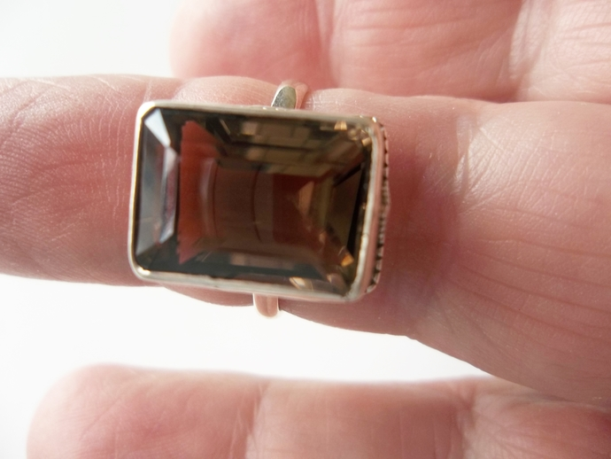 5ct Smoky topaz Ring, size 8.5, Promise Ring, Proposal Ring, Holiday Gift Idea,