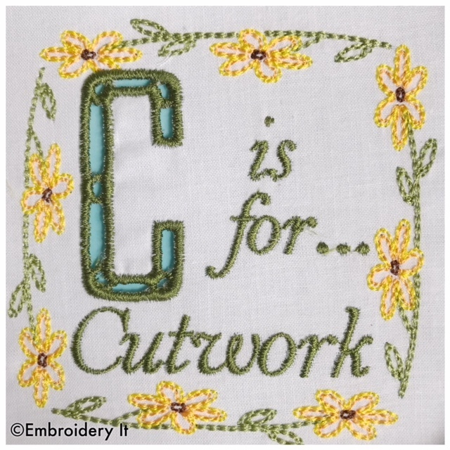 Embroidery Words Alphabet Letter C - Machine Embroidery Design in Pes, Dst, Exp,