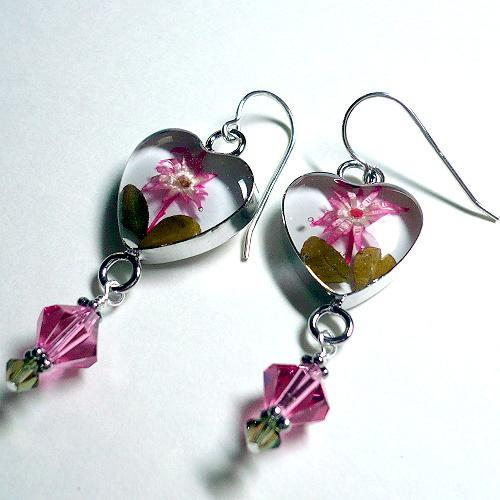 Swarovski Rose & Khaki Heart Flower S/S Earrings