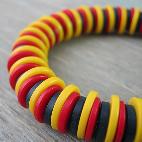 Elasticated Button Bracelet - Red/Yellow/Blue