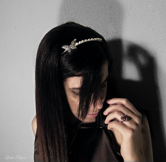 Ivory Headband  Swarovski Crystal Pearls - Butterfly