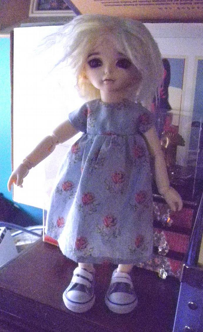LITTLEfee size blue with roses  cotton dress