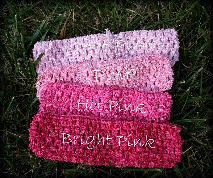 "Princess Pink 1.5"" Crocheted headbands"