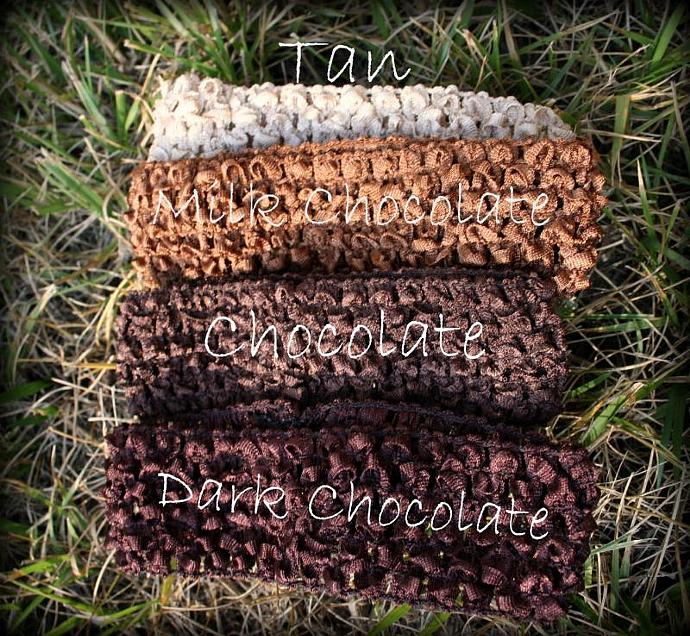 "1.5"" Crocheted BROWN Headbands"