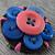 Button Flower Brooch - Blue/Salmon