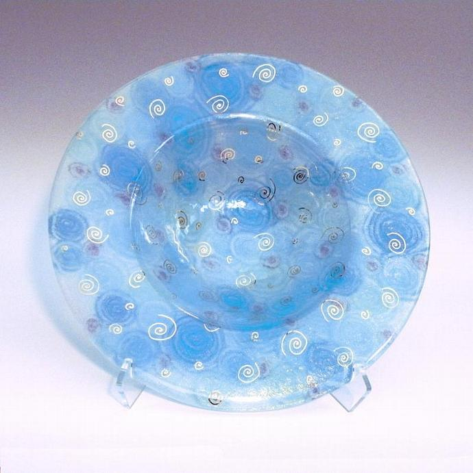 Turquoise Iridescent Art Glass Bowl with Purple and Gold Spirals