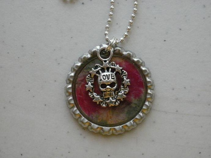 Love Skull Bottle Cap Necklace