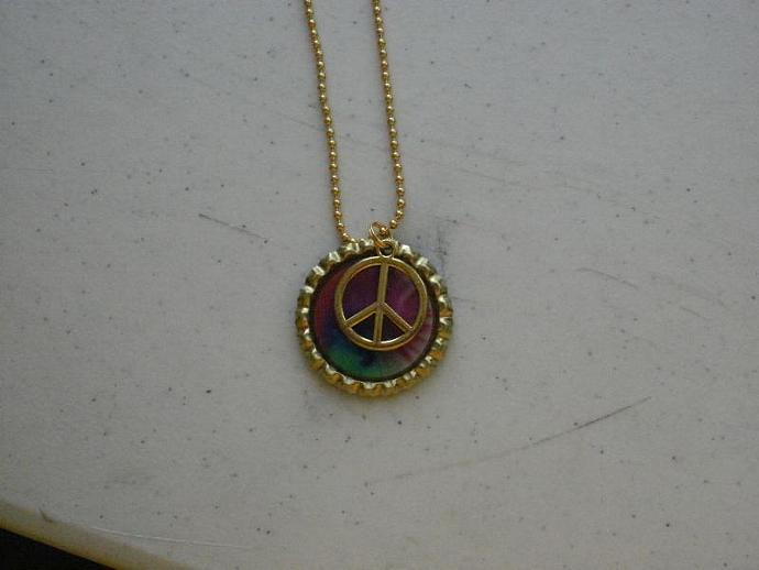 Gold Peace Sign Bottle Cap Necklace