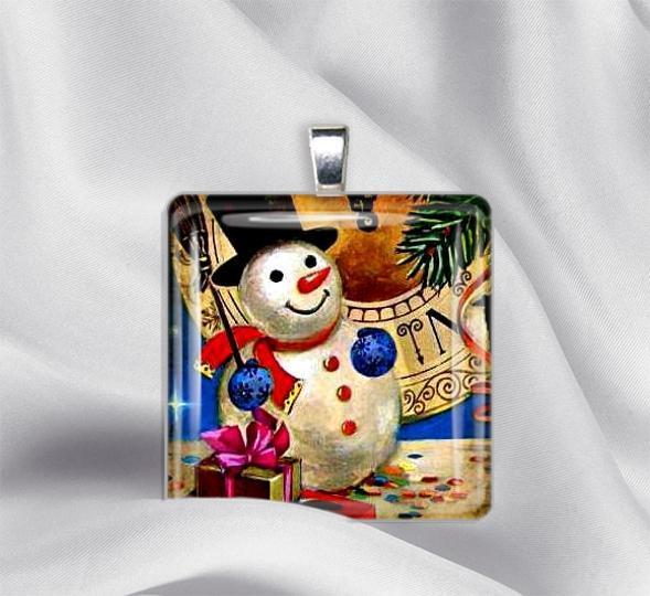 Snowman Glass Tile Pendant Necklace