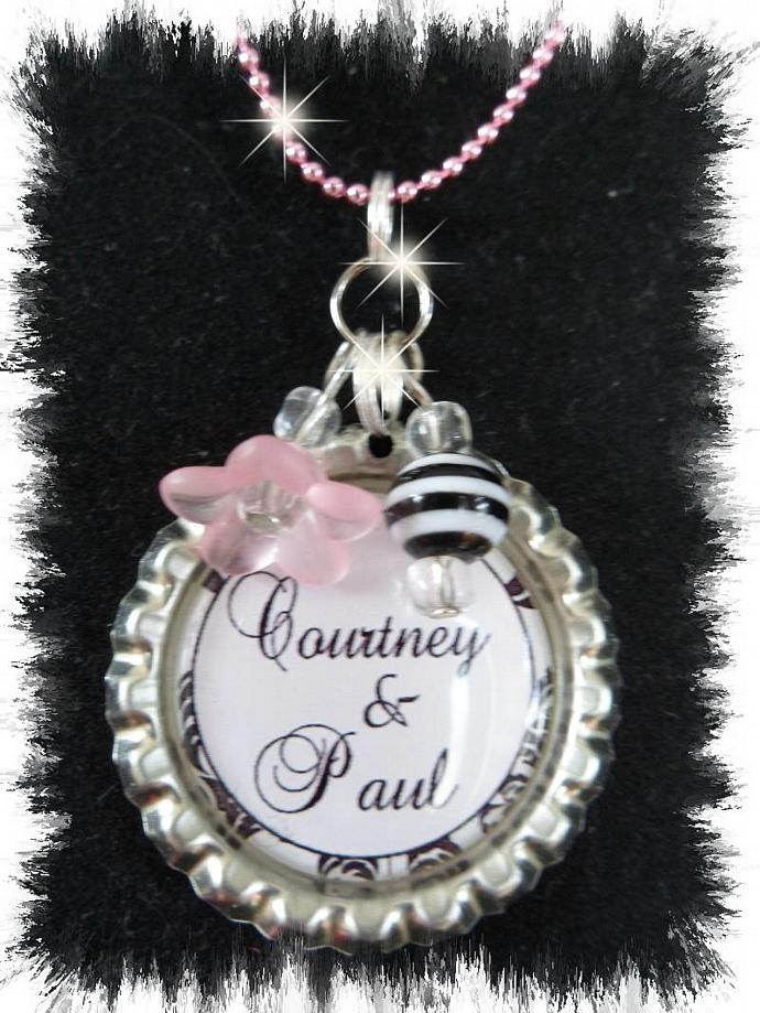 Personalized bottlecap damask necklace