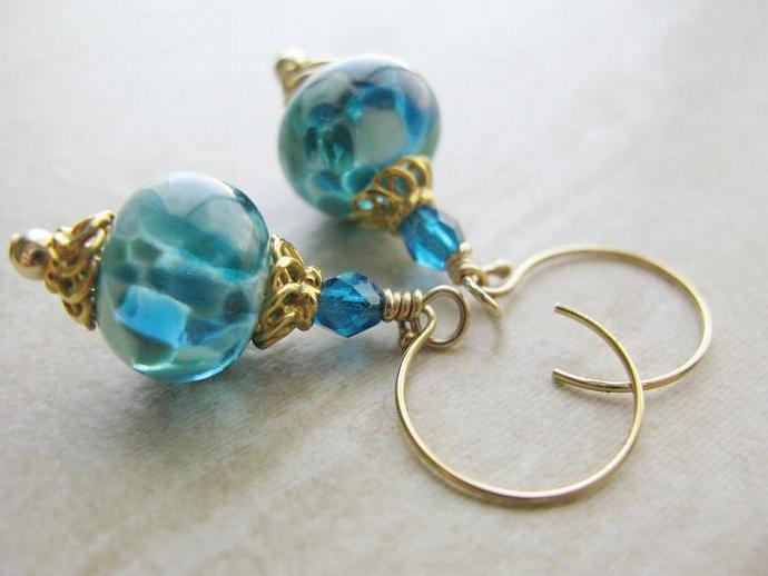 Temple of Poseidon Earrings - Gorgeous Aqua and Teal Artisan Lampwork Capri Blue