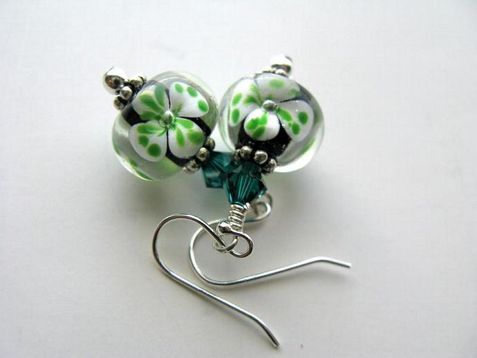 Luck of the Irish Earrings - Shamrock Artisan Lampwork Emerald Swarovski Crystal