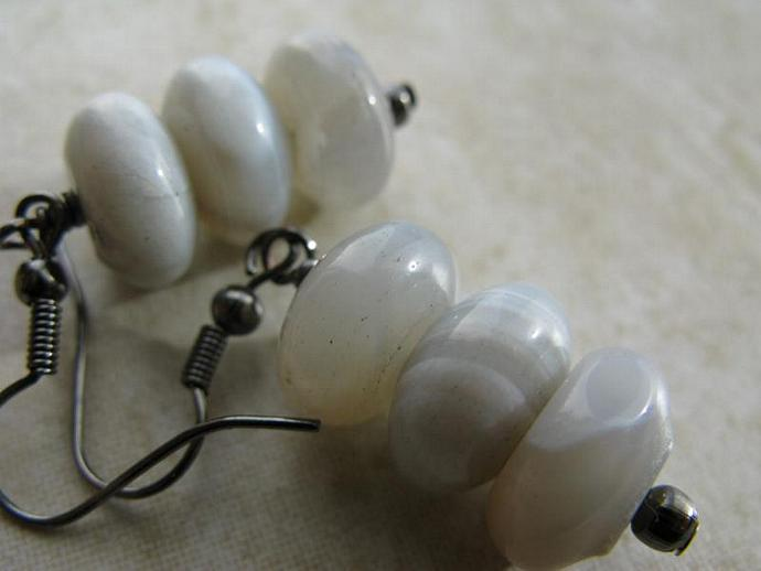 Botswana Earrings - Large Smoky Botswana Agate Rondelles Gunmetal