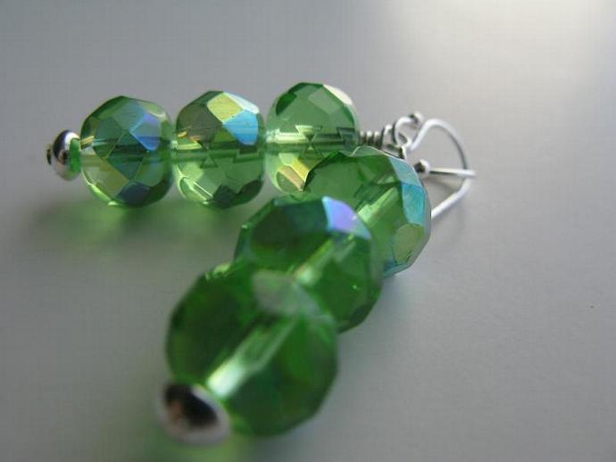 Green Tea Earrings - Faceted Peridot Czech AB Glass Sterling Silver