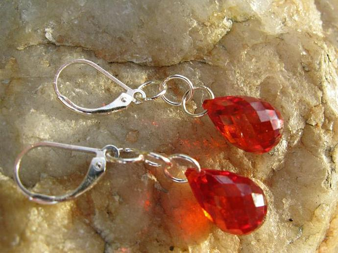 Drops of Ruby Earrings - Ruby Red Faceted Cubic Zirconia Teardrops Sterling