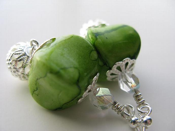 Apple Martini Earrings - Apple Green Acrylic Pinched Cubes Faceted Clear Czech