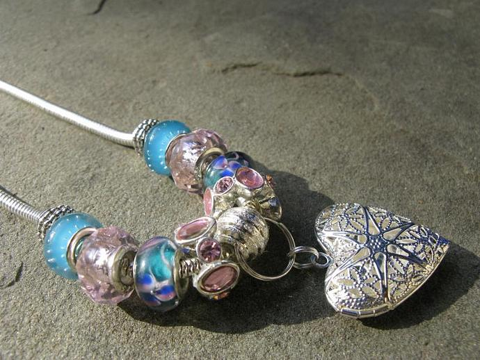 Cotton Candy European Bead Necklace - Pink & Blue Faceted Glass European Beads