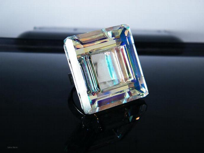 Square Rainbow Ring Swarovski Crystal Sterling Silver