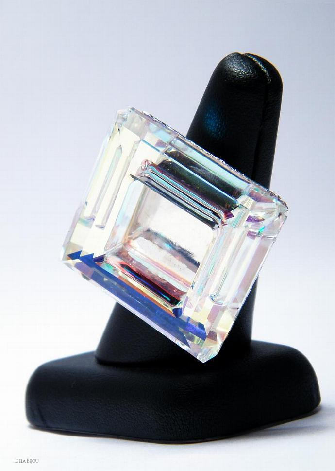 Square Rainbow Ring Swarovski Crystal Sterling Silver