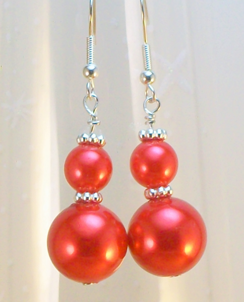 Red Pearl and Silver Earrings