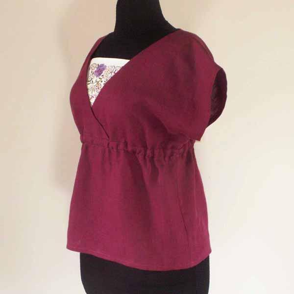 Black Cherry Linen Top