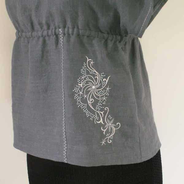 Asphalt Gray Linen Top