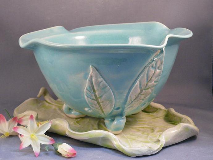 Robins Egg Blue Berry Bowl Colander on Leaf B1