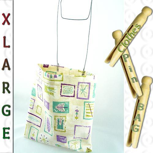 XL Sturdy Clothespin or Peg Bag Retro 50s design Green or Ivory