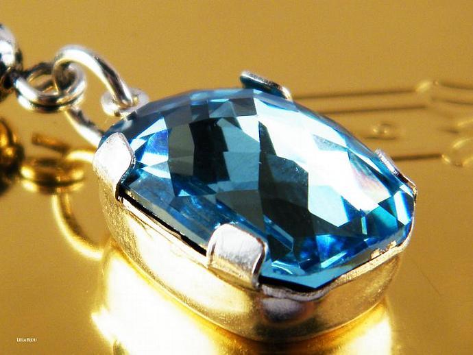 Aquamarine Drop Necklace Swarovski Crystal  Silver Plated