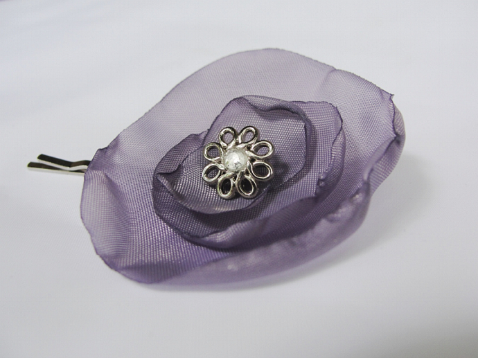 Lavender Fabric Flower Hairpin