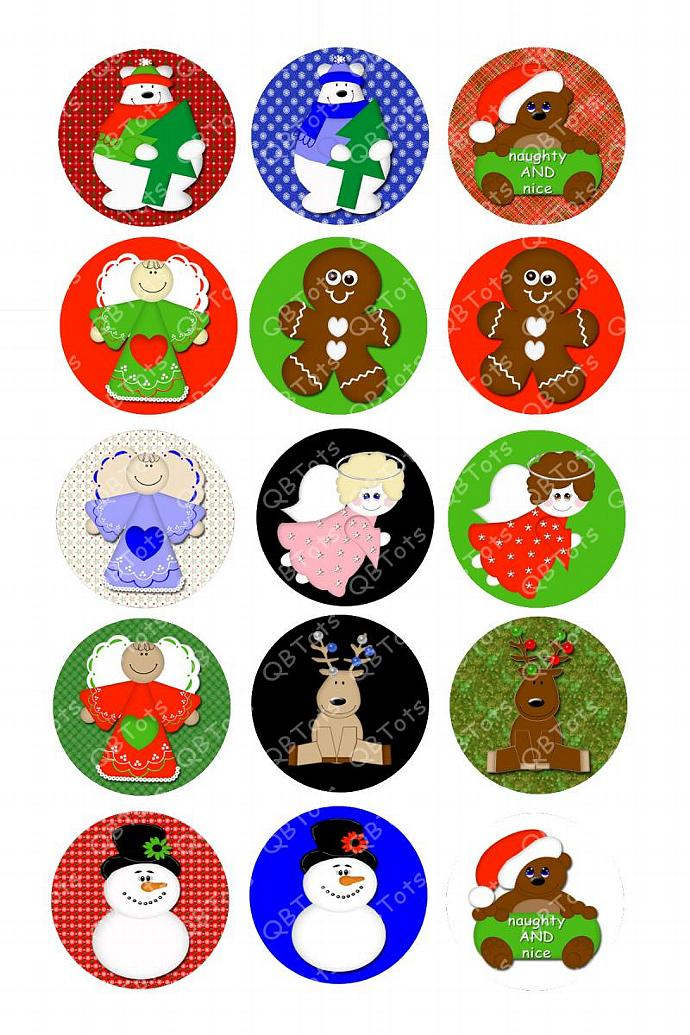 Holiday Winter Digital Image Collage 1 inch Circles