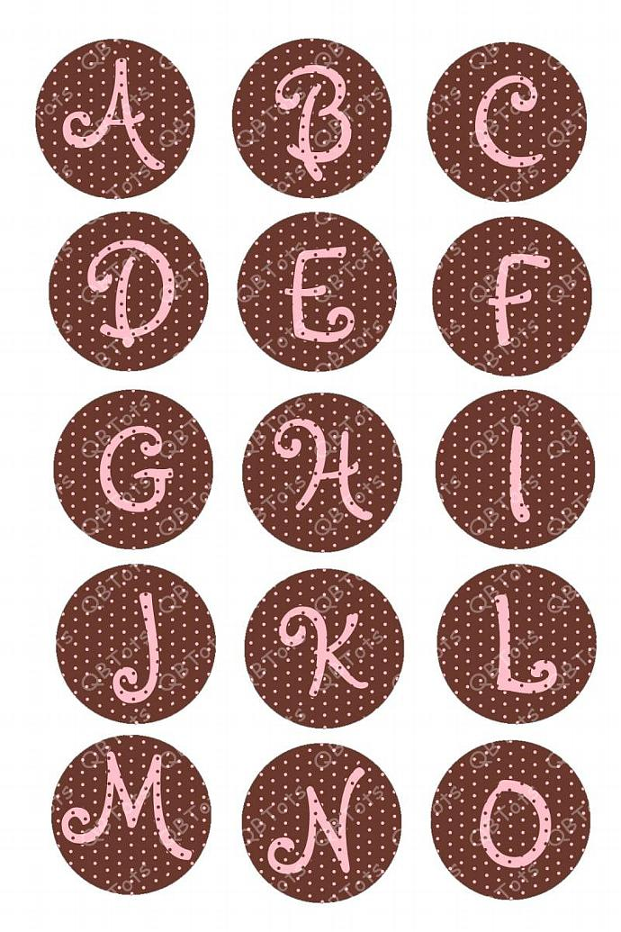 Small Pink Dots on Brown Initial Digital Collage 1 inch Circles