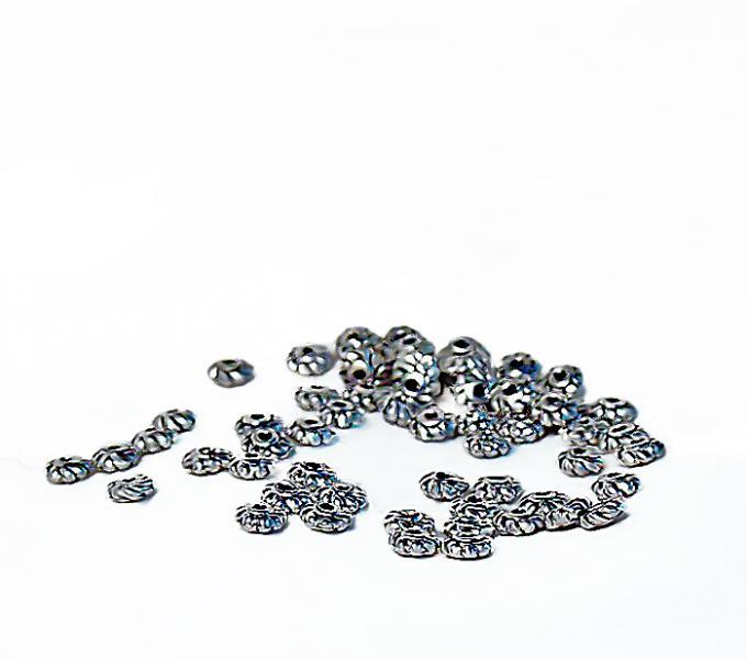 Silver Spirals- pewter spacer beads