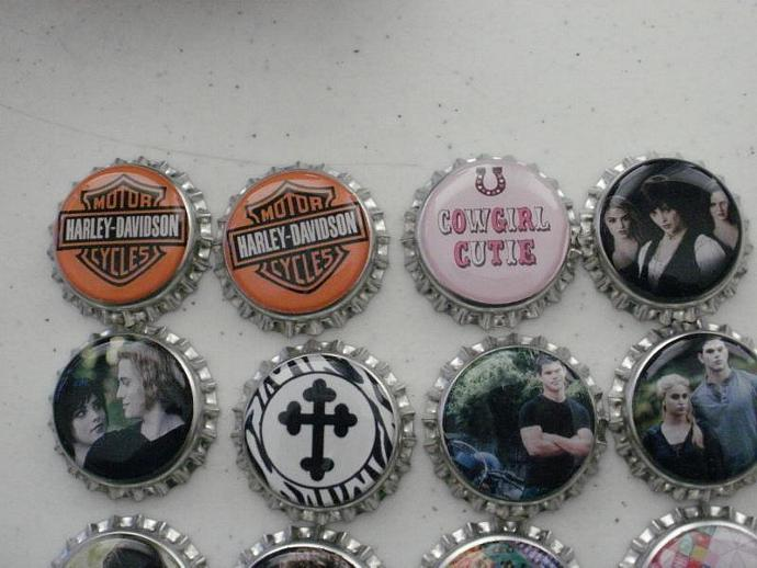 18 Assorted Finished Bottle Caps